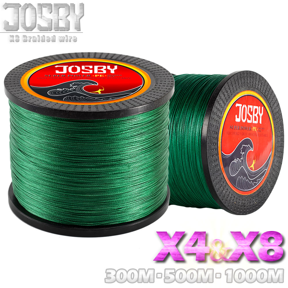 JOSBY 300M 500M 1000M 4 Strands 8 Strands Multicolour PE Braided Wire Multifilament Fishing Line fly