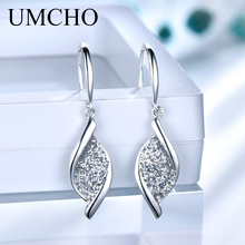 UMCHO Elegant 925 Silver Sequin Women Drop Earrings for Anniversary Party Gifts Fine Jewelry Decorations
