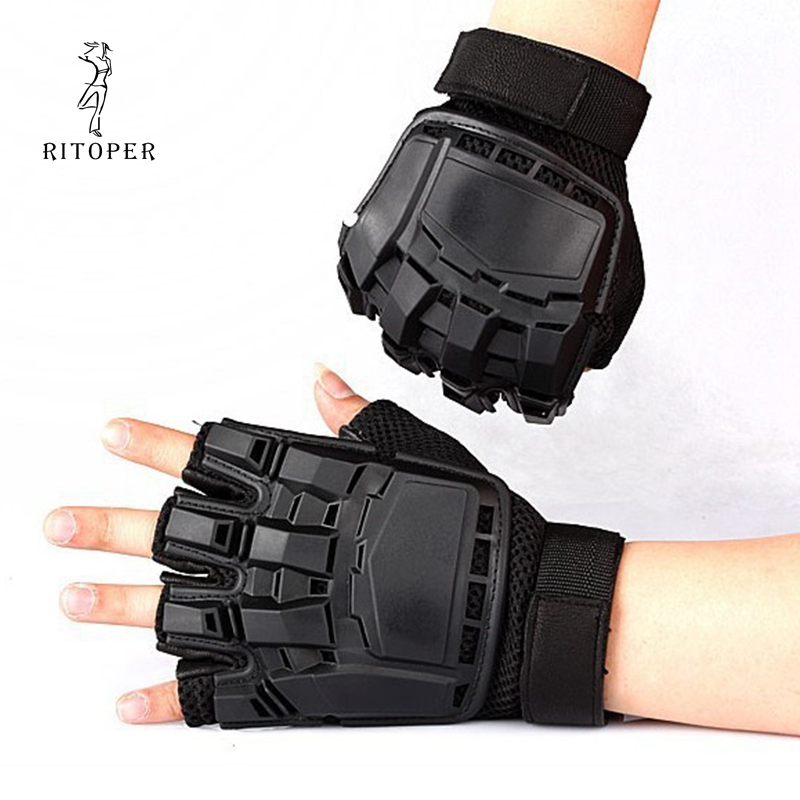 RITOPER Tactical Rubber Hard Knuckle Half Finger Gloves Military Army Paintball Shooting Airsoft Bicycle Combat PU Leather New
