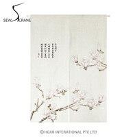 SewCrane Pink Orchid Japanese Home Restaurant Door Curtain Noren Doorway Room Divider