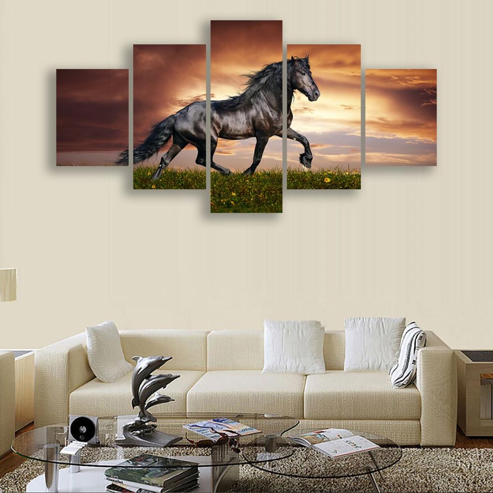 HD Print 5pcs art horse animal Painting on Canvas home decor wall ...