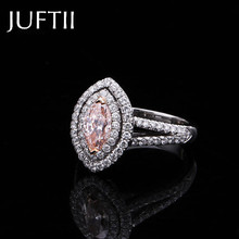 2ct pastel colored pink cz Marquise Victoria Wieck Pear cut White Gold Filled Women Wedding Ring