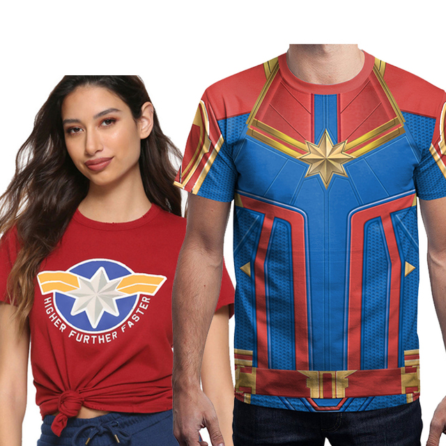 aa37a828 captain marvel carol danvers america men 2019 cosplay costume shirts t shirt  Tops Tee t-