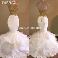 Sexy Long Mermaid White And Gold Prom Dress 2017 Spaghetti Strap Appliques Lace Ruffled Organza Evening