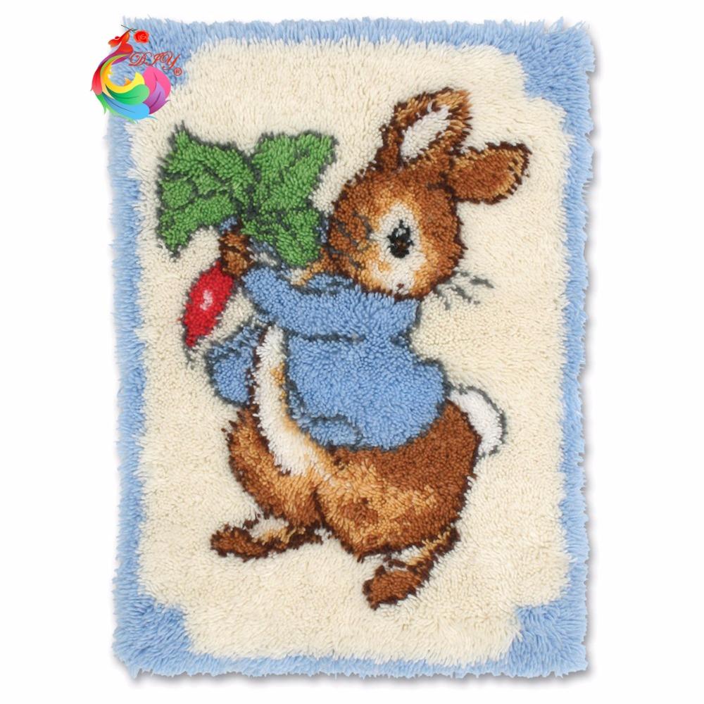Carpets cross stitch kits stitch threads floor latch hook kits yarn for knitting carpet mats Latch hook rug kits Cartoon rabbit