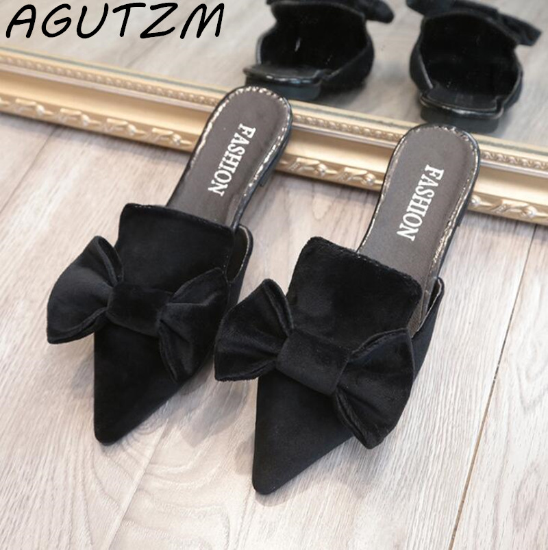 AGUTZM Women Slippers Velvet Butterfly-knot Women Sandals Pointed Toe Bowtie Flats Mules Summer Ladies Shoes zapatos mujer black red summer sweet bowtie flat sandals slip toe beach sandals butterfly knot flat sandals shoes plus size 44
