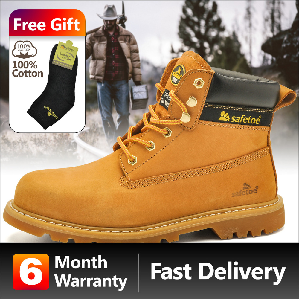 Safetoe Hommes Bottes Hommes Chaussures de Travail De Mode Classique En Cuir Extra Large En Acier Embout Semelle Intercalaire En Acier Plaque Anti-nail NOUS Size5-13
