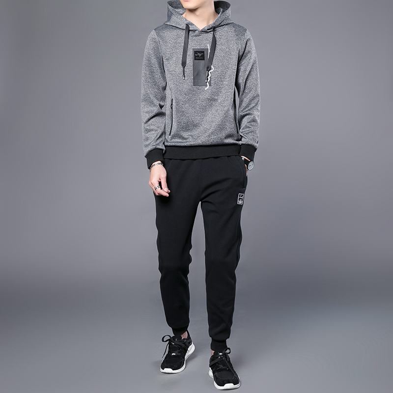 2018 Spring and Autumn New Hooded Turtleneck Sweater Fashion Trousers Suit Mens Fashion Casual Set