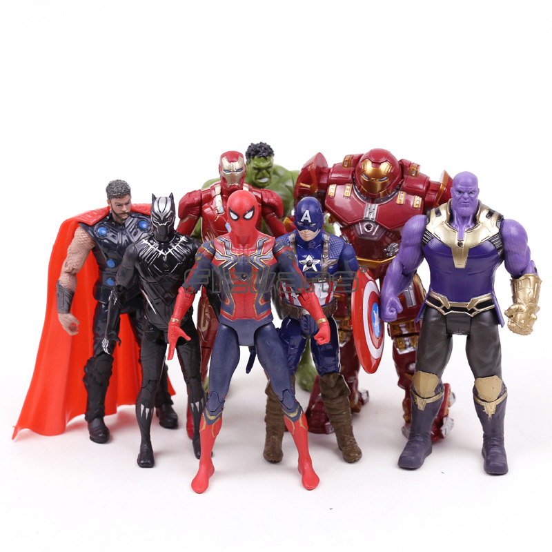Marvel Avengers Infinity War Action Figures Toys Set Hulk Black Panther Captain America Spiderman Thanos Iron Man Hulkbuster
