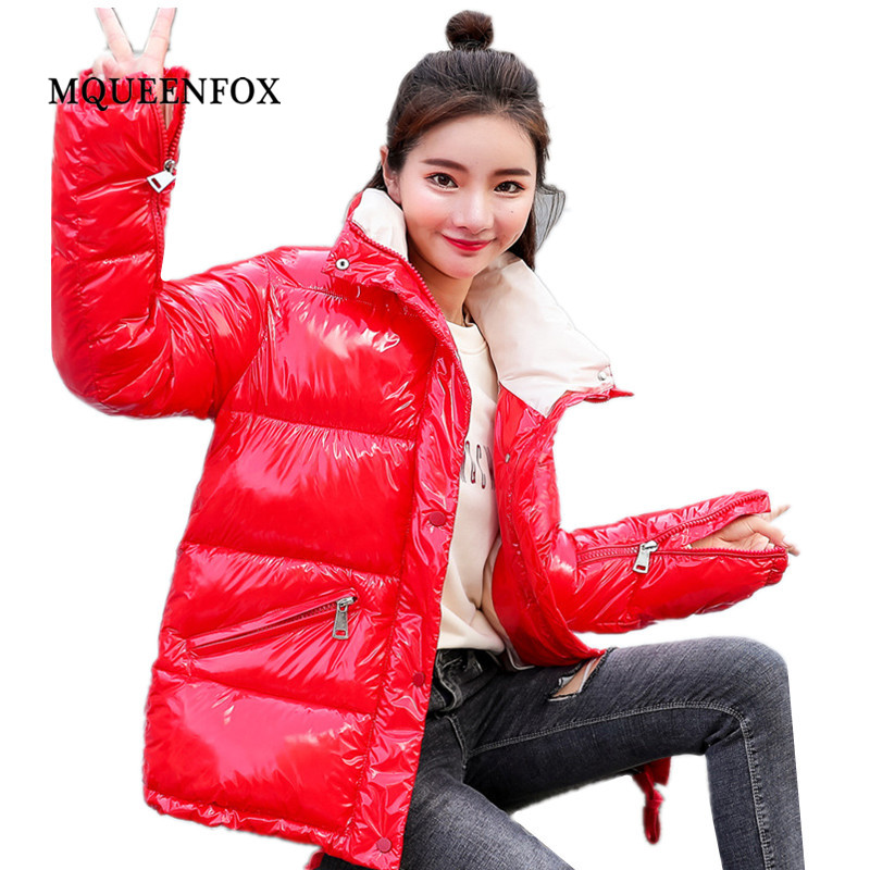 Black Red Bright Winter Warm Jackets Coats 2019 new Metal Solid Women's Casual Long   Parkas   Down Cotton Padded jacket Outwea