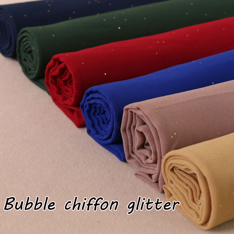 Laven bubble chiffon glitter scarves shawls hijab plain shimmer long headband wrap muslim 19 color scarves
