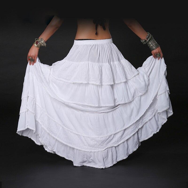 2018 Ats Multi cercle complet danse du ventre jupe gitane Tribal danse du ventre jupe Double couches imprimé coton espagnol Flamenco robe