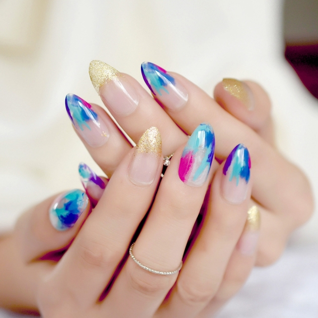 Galaxy Marble Design Nail Art Kit Colorful Sharp Medium French Stiletto  Nails For Home Office Manicure