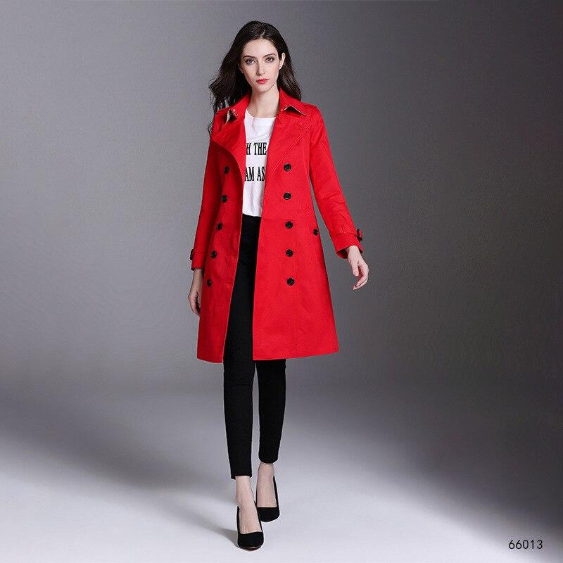 Vêtements Printemps Brise Slim Long Double Femmes Solide Manteaux kaki Noir Automne Nouveau rouge Couleur Lady Breasted Ceinture Avec 2019 Trench vent x4qEAIqS