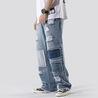 BUMPERCROP Luxury Pants Justin Bieber Street Men Fashions Jeans Brand Patchwork Hip Hop Jeans Ripped Tall Men Disstressed Hold