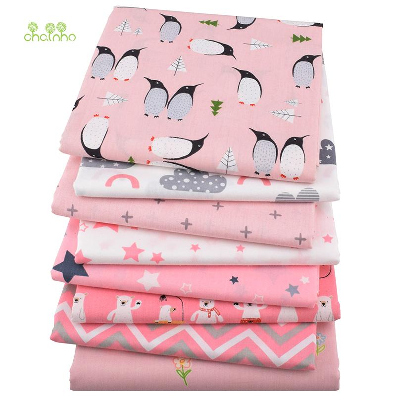 Chainho,8pcs/lot,Pink Penguin&Bear Series,Print Twill Cotton Fabric,Patchwork Cloth,DIY Sewing&Quilting Material For Baby&Child