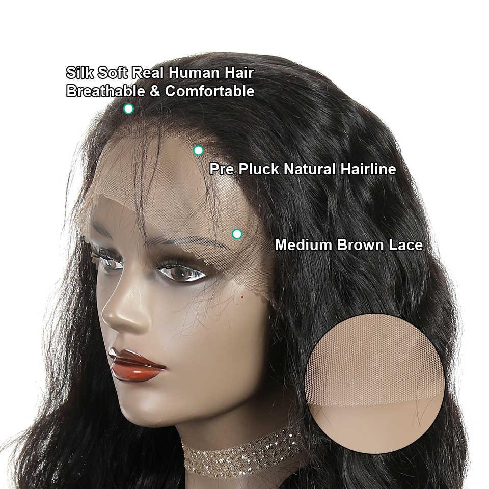 Pelucas delanteras de encaje de Ali Grace pelo Natural pre-desplumado con cabello de bebé pelucas de encaje Remy pelucas brasileñas de cabello humano de onda del cuerpo