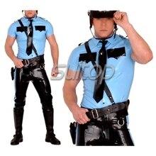 Полицейский человек резиновая форма рубашка и брюки латексные костюмы военный комплект не включая ремень Костюм на заказ