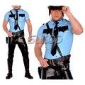 Hombre policía uniformes camisa y pantalones de látex de caucho SUITOP disfraces set no incluye cinturón militar personalizado