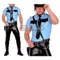 Police man rubber uniforms shirt and pants latex costumes military set not including belt SUITOP customised