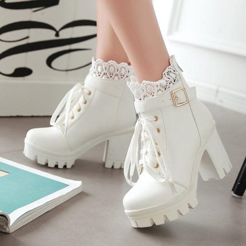 winter New pattern High heeled Coarse heel Martin boots Frenulum Waterproof Thick bottom Large code white Women Boots 34 43-in Ankle Boots from Shoes
