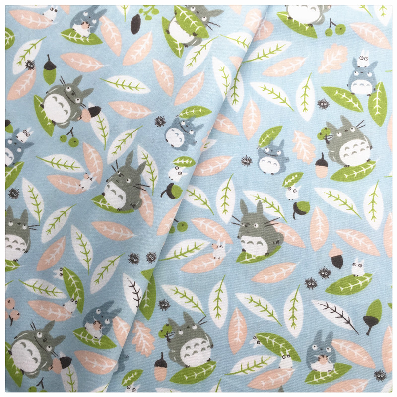 Blue cartoon totoro printed cotton fabric sewing baby the for Printed cotton fabric