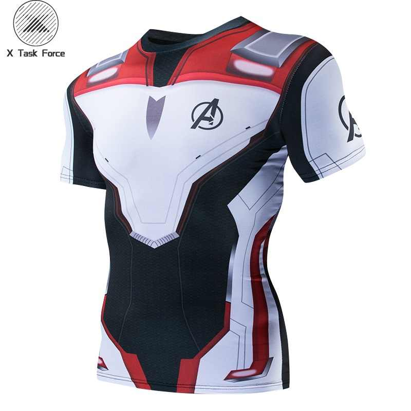 Avengers 4 Endgame Quantum War 3D Printed T shirts Men Compression Shirt Iron man Cosplay Costume Short sleeve Tops For Male 4XL