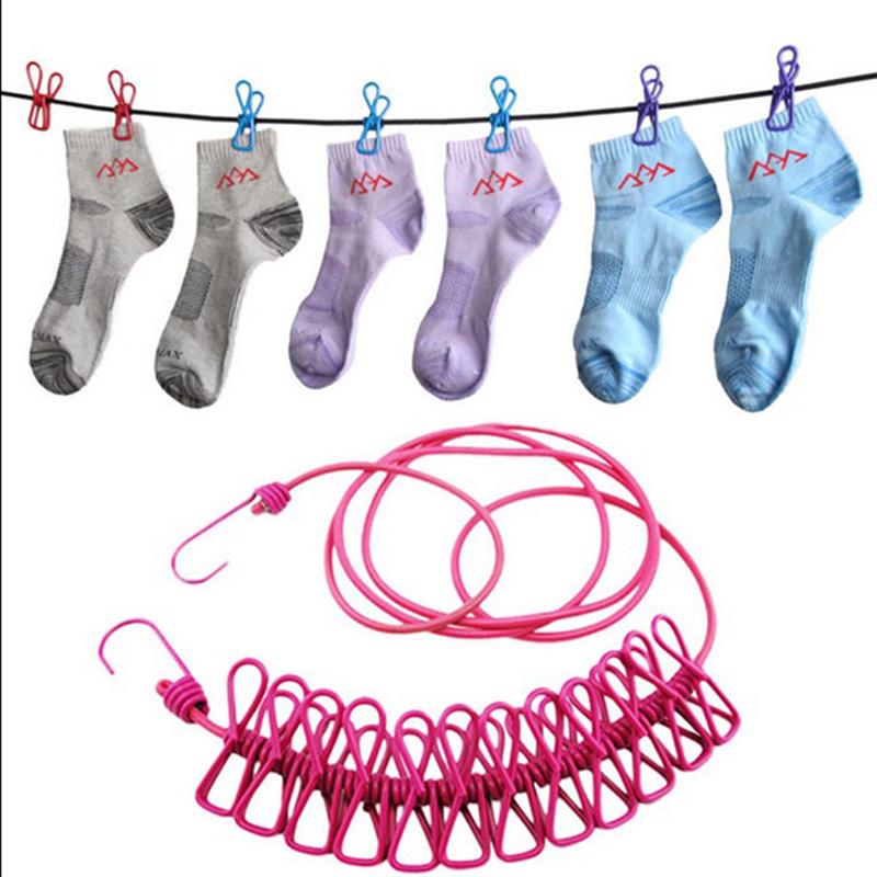Elastic Washing Line With 12 Clips Travel Portable Retractable Clothesline Home Socks Underwear Clothes HangerElastic Washing Line With 12 Clips Travel Portable Retractable Clothesline Home Socks Underwear Clothes Hanger