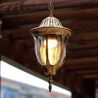 European vintage bronze aluminum outdoor waterproof pendant lamp American villa retro glass E27 LED bulb pendant light fixture