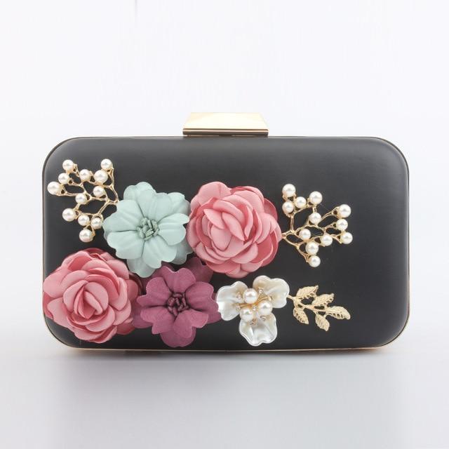 a7a387faee4 Cristal de lujo de embrague Bolsa De noche blanco flor negro partido bolso  mujeres Boda nupcial