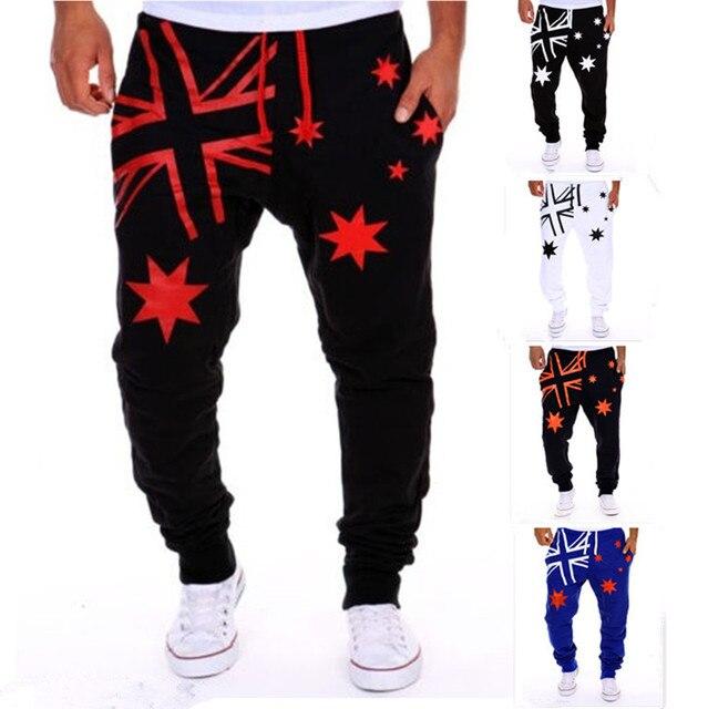 a64f033577099 Pantalones de chándal holgados informales con letras de hip-hop para hombre  de moda 2017