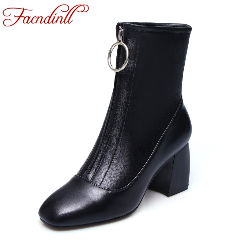 FACNDINLL new fashion soft sheepskin genuine leather women ankle boots sexy high heels square toe shoes woman party riding boots facndinll genuine leather ankle boots for women new fashion short boots high heels pointed toe lace up women black riding boots