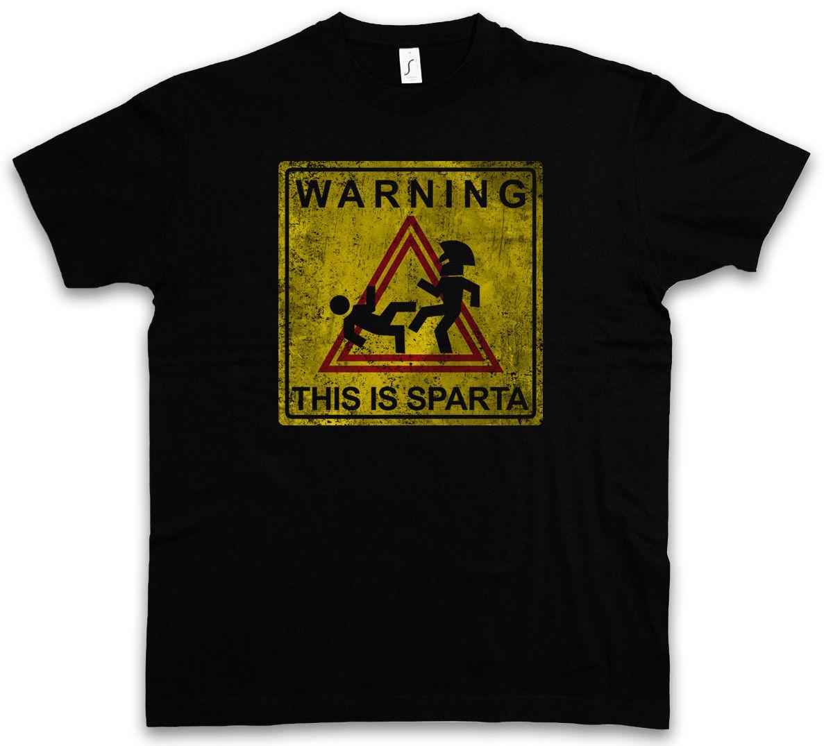 Предупреждение Это Спарта Знак Футболка Kick весело отверстие Leoniadas 300 логотип Леонидас Для мужчин О-образным вырезом футболка