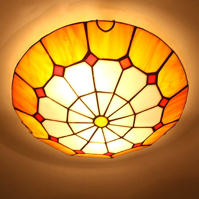 Modern Fashion Tiffany Ceiling Light Fixture European Colorful Drawing Glass Lamp Home Deco Living Room