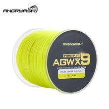 ANGRYFISH Fishing Line Diominate X9 PE 9 Strands Weaves Braided 500m/327yds Super Strong 15LB-100LB Yellow