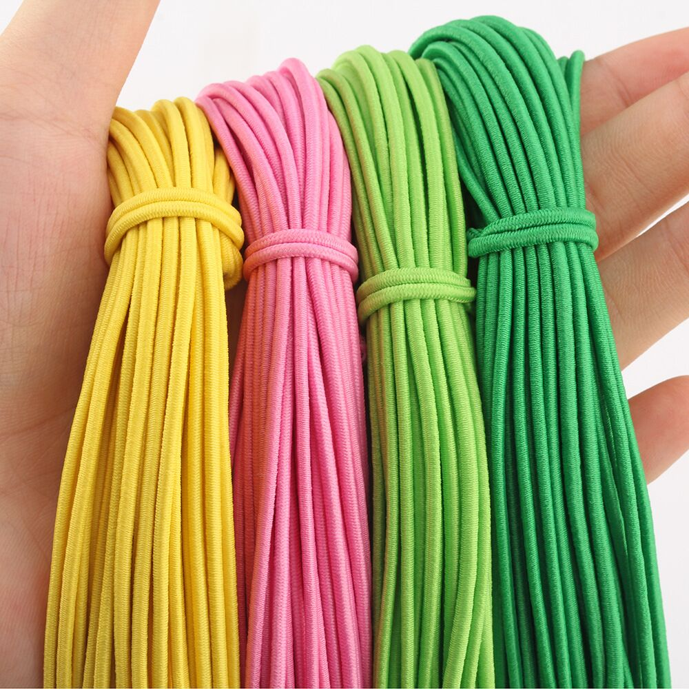 45M 2mm Colorful High-Elastic Round Elastic Band Round Elastic Rope Rubber Band Elastic Line DIY Face Mask Sewing Accessories