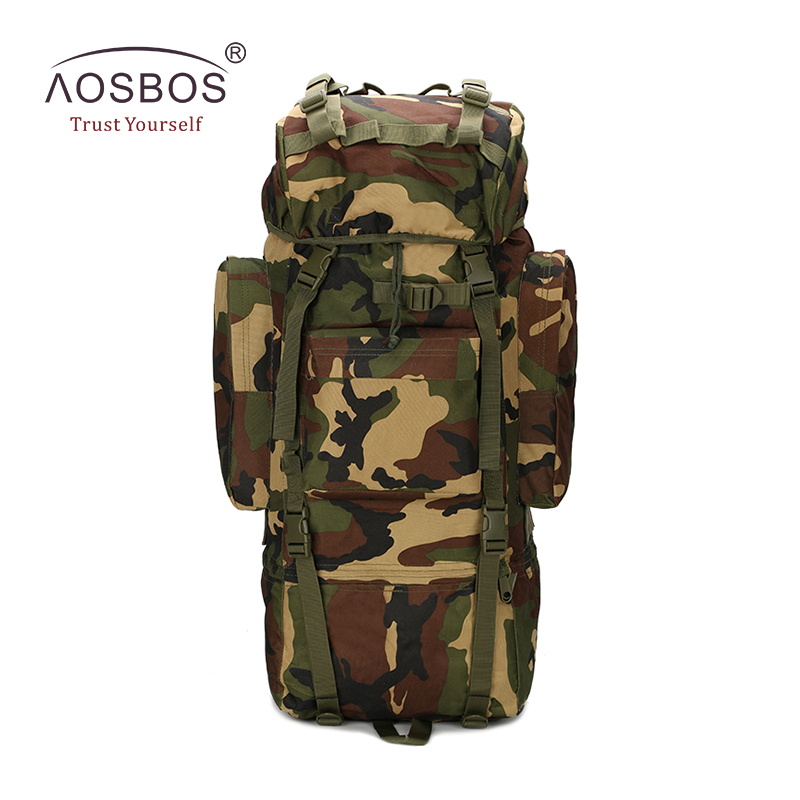 Aosbos Outdoor Military Tactical Backpack 65L Large Capacity Sports Bag Waterproof Camouflage Hiking Camping Bag With Molle Bag 65l outdoor sports multifunctional heavy duty backpack military hiking