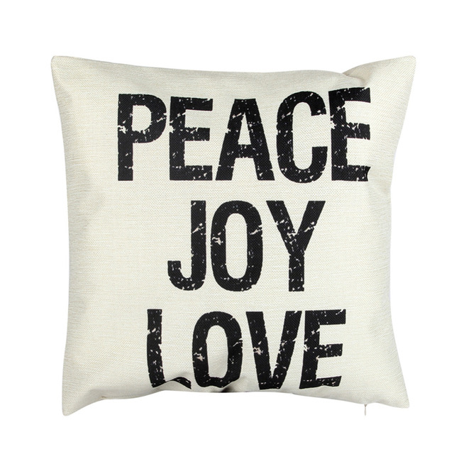 2018 New Cushion Cover Pillow Case Cotton Peace Joy Love Black White