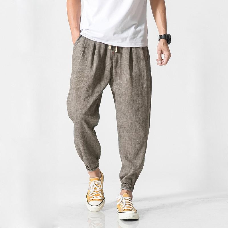 MRDONOO Chinese Style Casual Men Harem Pants Men Jogger Pants Men Fitness Trousers Male Chinese Traditional Harajuku QT713-K29
