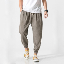 Mrdonoo calça harém masculina estilo chinês, casual, para homens, fitness, chinesa tradicional, QT713 K29