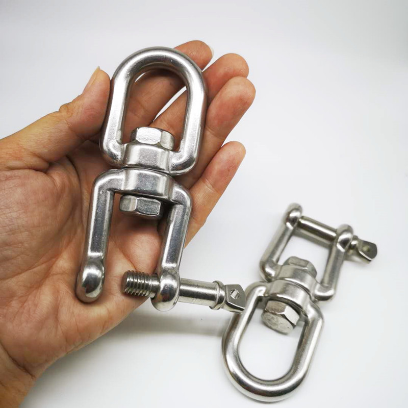 2pcs M10  304 Stainless Steel Jaw--Eye Swivel Hook Shackle