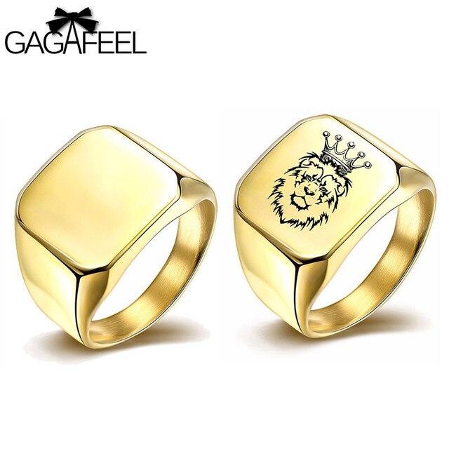 Gagafeel Platz Ring Luxus Gold Silber Manner Ringe Gravieren Logo