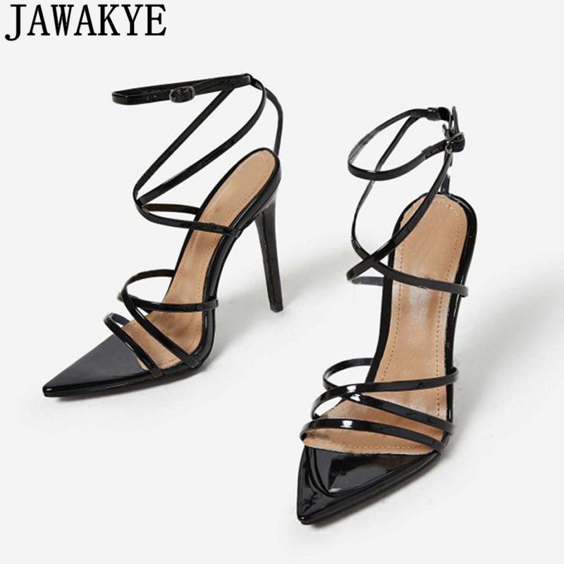 2018 newest PU summer sandals women high heels buckle strap pointed toe cross tied wedding shoes