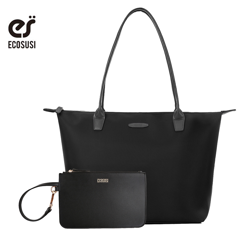 ECOSUSI 15.7 Inch Nylon Women Bags Black Women's Shoulder Bags Women Tote Bag Big Capacity Laptop Bags Brand Bag Wih Wallet