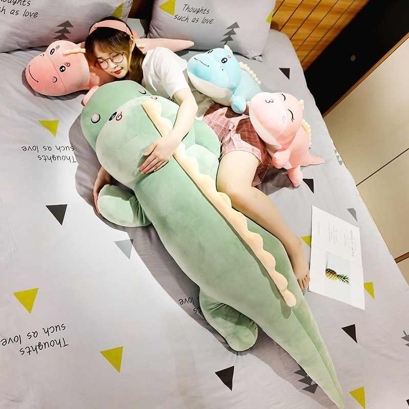 Yeni büyük boy uzun güzel dinozor peluş oyuncak yumuşak karikatür hayvan dinozor dolması bebek erkek arkadaşı yastık çocuklar kız doğum günü hediyesi