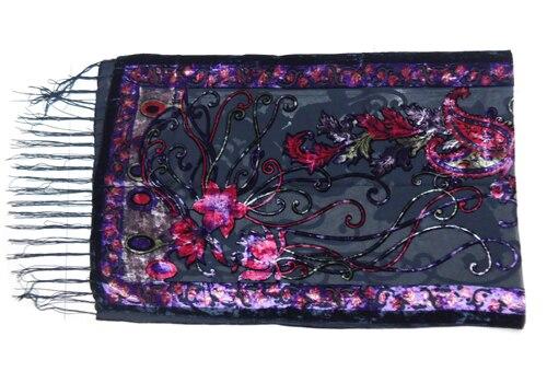 Новые горячие Испания кешью цветы шарфы для женщин выгорания бархат шаль женский весна зима подарок мама, жена - Цвет: purple
