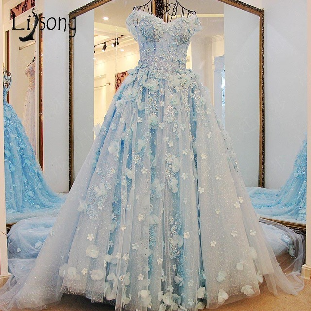 Dubai Pretty Bridal Dresses 2017 Floral Pearl Wedding Gowns Crystal ...