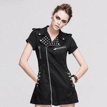 2016 new Steampunk Goth GOTHIC Street zipper T-shirt black dress slim personality