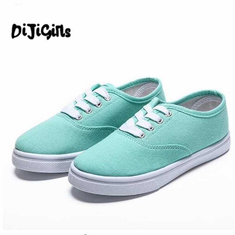 2018 Women Canvas Shoes Lace Up Casual Shoes Woman Flats Sneakers Candy Color Breathable Shoes Ladies Espadrilles Big Size 35-42 de la chance women vulcanize shoes platform breathable canvas shoes woman wedge sneakers casual fashion candy color students