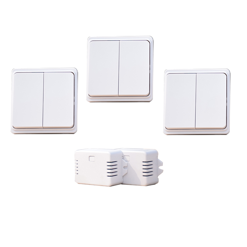 Augreener 3 Buttons 2 Receivers Battery Free Wireless Light Switch 20m Working Range In Room Waterproof